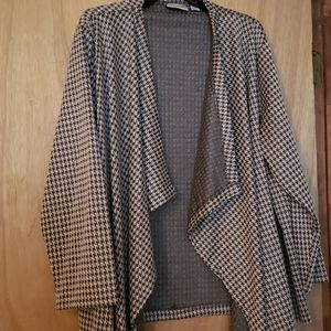 Brown checked cascading blazer